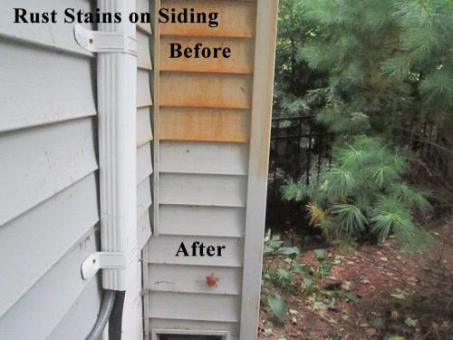 Rust Removal on Siding and Shutters