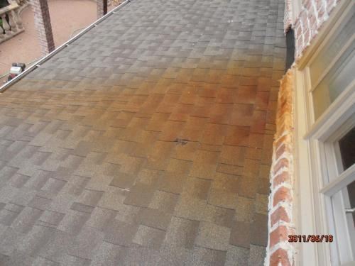 Rust Removal on Roof Shingles Before